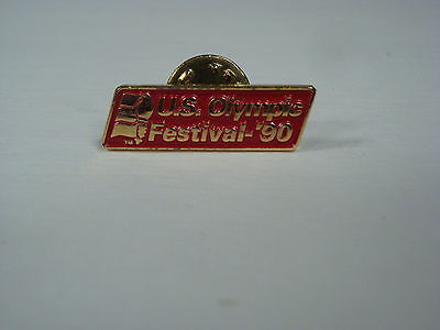 """1990 U.S. Olympic Festival Pin - Twin Cities - Red Background - 1.125"""" x .3125"""""""