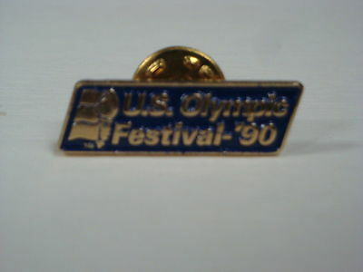 """1990 U.S. Olympic Festival Pin - Twin Cities - Blue Background - 1.125"""" x .3125"""""""