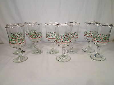 Vintage Set of 9 Arby's Christmas Collection Wine Water Glasses - 1985/86/87