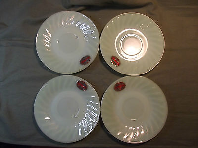 4 rare Anchor Hocking Fire King jadite swirl saucers with tag from jadite HOARD