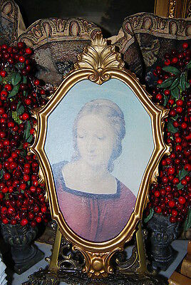 VINTAGE LARGE FLORENTINE GOLD ROCOCO STYLE WOOD PICTURE FRAME WITH A LADY PRINT