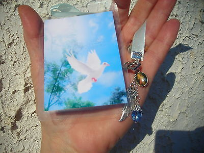 EASTER LOT OF 2 HANDMADE BOOKMARKS- DOVE/ HOLY SPIRIT & JESUS W. RIBBON & CHARMS