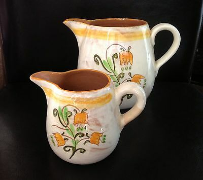 Vintage Stangl Terra Rose Yellow TULIP Teapot Large & Small Pitcher Set