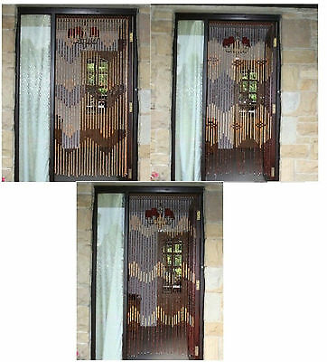 Bamboo Beaded Wooden Door Curtain Glamorous Blind Fly Screen Curtains 90 X 180cm