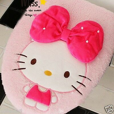 NEW Pink Cuddly Huge Red Bow Hello Kitty Toilet Seats & Lid Cover Set