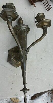 Nice  double arm vintage Brass sconce 1920's  Gas nice detail