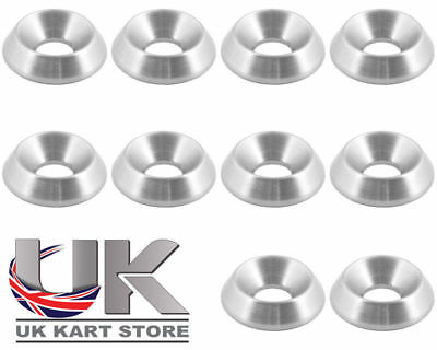 Aluminium Alloy Kart Washers Countersunk M6 Silver Pack of 10 - 18 x 4 x 6mm CSK