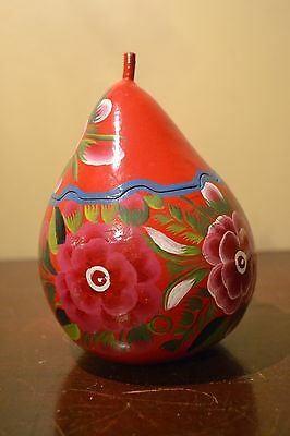 VTG Mexican Hand Painted Floral Lacquered Gourd w/Lid TRINKET IXTAPA ZIHUATANEJO