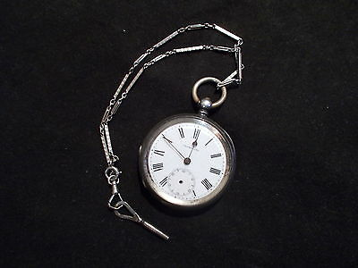 THOMAS FOX STERLING SILVER KEY WIND POCKET WATCH WITH FOB AND KEY