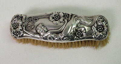 """Vintage Unger Brothers Sterling Silver """"Queen of the Flowers"""" Coat Brush"""
