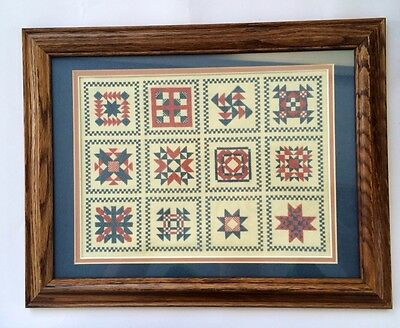 Completed Framed Needlepoint Cross Stitch Red Blue Squares Americana Sampler