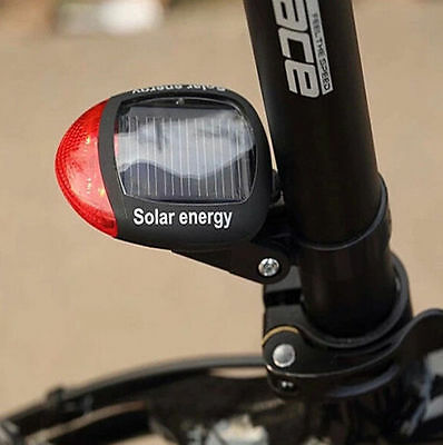 Solar Energy Bicycle Cycling Rear Tail LED Rechargeable Light Waterproof 3Models