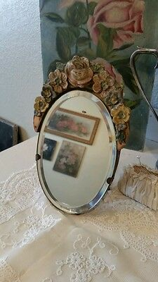 FRENCH CHIC~ Antique English BARBOLA OVAL Mirror Gesso Flowers ROSE