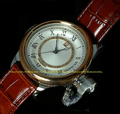New Invicta 52mm Russian Diver Quartz Stainless Steel Case Leather Strap Watch