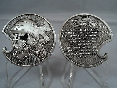 Motorcycle Rider Creed Challenge Coin United States Military Bottle Opener Devil