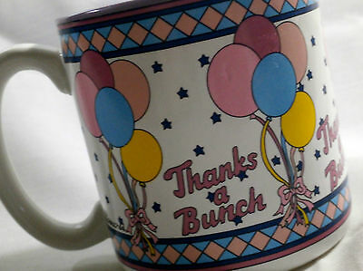 Thanks A Bunch Baby Shower Coffee Mug Multicolor Balloons Stamped 1989 Peaches