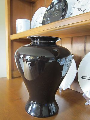 Haeger Large Glossy Black Floral Vase Pottery 12 inches 1990