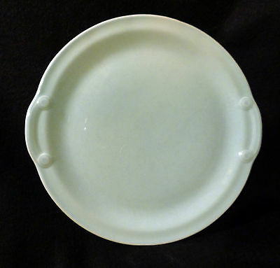 """LURAY PASTELS 11"""" ROUND GREEN CAKE OR SERVING PLATE, LUG HANDLES, RARE"""