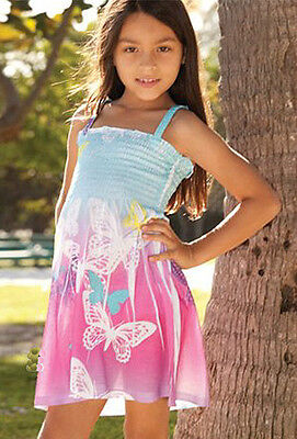 NWT NEW Cute Pink/White/Lite Blue Butterfly Darling Dress Sz Small(Fits: 3/4Y)