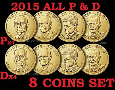 8 Coin Set 2015 P D President Truman Eisenhower JFK Johnson Presidential Dollar