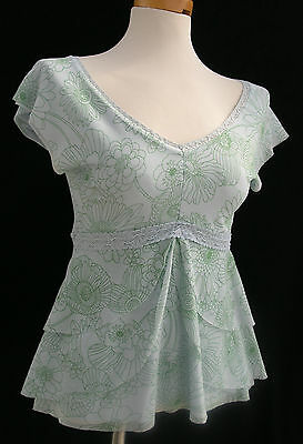 "Weston Wear nylon mesh top empire waist aqua floral bust 30"" XS S EUC"