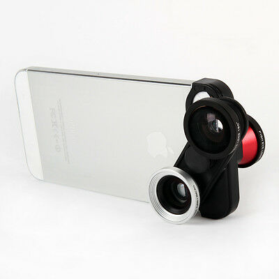 4in1 Wide Angle + Front & Back Camera Fisheye + Macro Phone Lens for iPhone 5 5S
