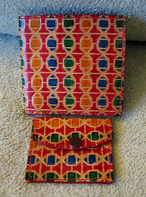 Vintage Multicolor Red Yellow Blue Green Tooled Leather Bifold Wallet Coin Purse