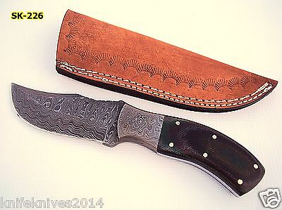 Rare Custom Hand Made Damascus Fixed Blade Hunting Skinner Knife & Leather Cover