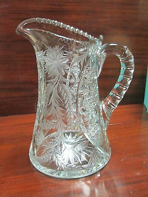 Antique Tuthill signed American Brilliant Cut & Intaglio Glass Pitcher