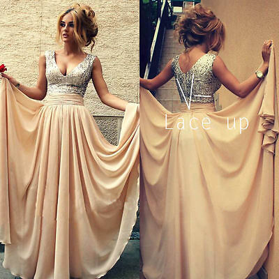 Long Chiffon Evening Formal Party Ball Gown Prom Bridesmaid Dress Size: 6-16