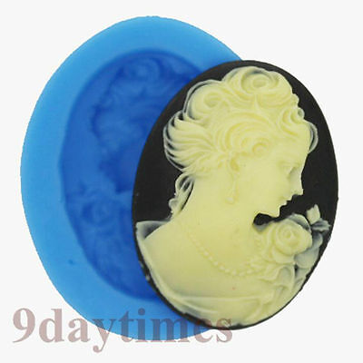 Belle Girl Cabochon Polymer Clay Silicone Mold Crafts Cake Decorating 40x30mm