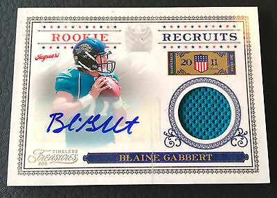 Blaine Gabbert 2011 Panini Timeless Treasures Recruits Auto Patch RC #25