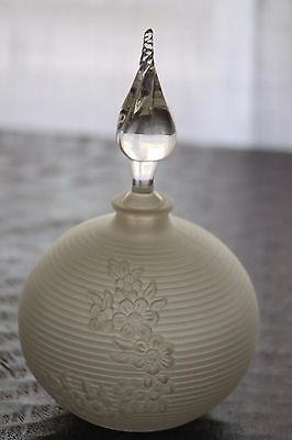 Vintage, large art deco, round frosted glass perfume bottle