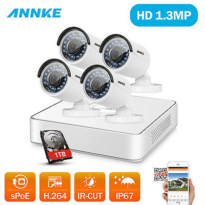 SANNCE 4CH 960P Surveillance NVR POE Outdoor Security Camera Home CCTV System 1T