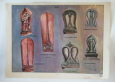 "ARCHITECTURAL ORNAMENTS THAI illustration 21"" Buddhist temple ceramic finials"