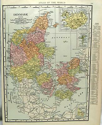 Denmark & Switzerland  Atlas Map Page 1916 Wwii Vintage Rand Mcnally Europe