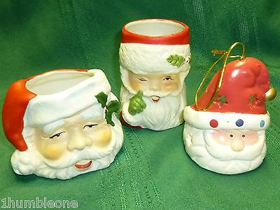 Sweet Keepers Bisque Porcelain Santa Claus Candle Holder Ceramic Figurine Lot