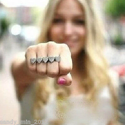 Bohemian Unique Vintage 5 Love Heart Peach Hearts Double 2 Refers Ring Rings HOT