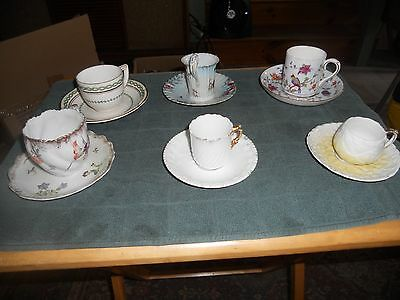 Set of 6 Vintage Mismatched Mini Teacups and Saucers