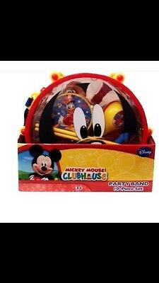 10pc Kids Disney MICKEY MOUSE Music Party BAND SET Drum Carry Case Preschool Lot