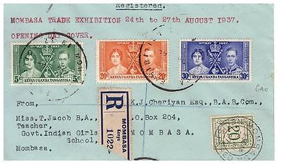 KUT Registered cover opening day Mombasa Trade Exhibition 24th-27th Aug 1937