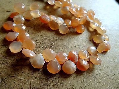 95 cts Rare Peach Moonstone 10-15mm briolette faceted Hearts 6 inch strand-AAA+