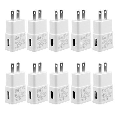 10x 2 Amp AC Wall Wholesale USB Chargers for Samsung Galaxy S3 S4 S5 Note 2 3 4