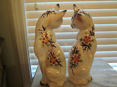"""vtg. (2)Oriental Siamese cats porcelain hand painted#H55-77Made Japan12""""tall"""