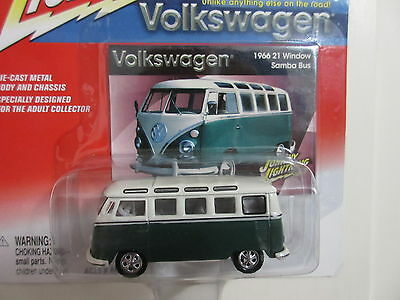 Johnny Lightning Rare WHITE LIGHTNING 66 VW 21 window Samba Bus green 1/64 scale