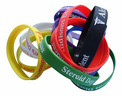 Addison's Disease Steroid Dependent  -  Silicone Medical WristBands 2 bands pack