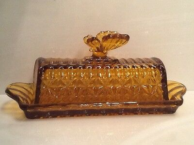 Amber Yellow Circleware Butterfly Butter Dish.  New in Box. Retro Art Deco