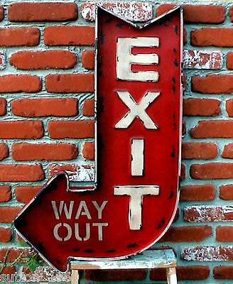 EXIT WAY OUT Huge Metal SIGN Retro Movie Theater Home Concession Industrial Sign