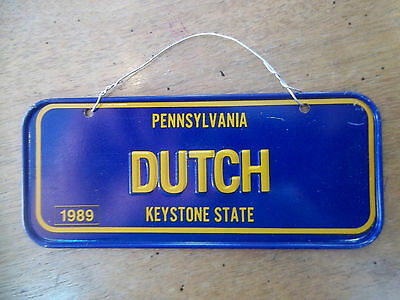 """Vintage PENNSYLVANIA """"DUTCH' """" Metal Bicycle License Plate~Cereal Box Toy~SIGN~"""