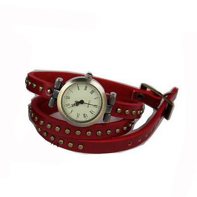 Chic Womens/Girls Weave Rivet Leather Band Strap Quartz Bracelet Wrist Watch Red